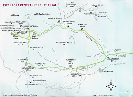 Map ofCentral Circuit Hiking Trail for Rwenzori Mountaineering Service